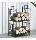Xiaokeai Fireplace Log Rack Elk Wrought Iron Large Logs Bin Fireplace Tools Set Tongs Accessories Indoor Outdoor Log Rack Tall Firewood Rack with 4 Tools ,Bronze/Black Firewood Holder (Color : A)