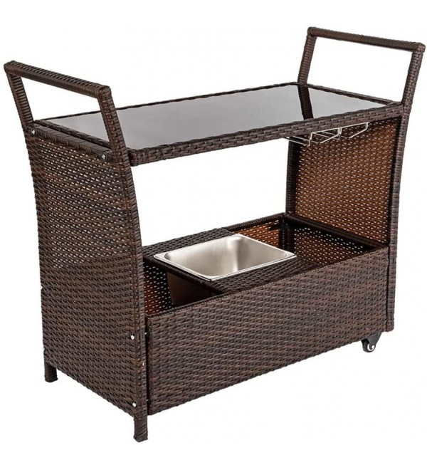 Outdoor Patio Wicker Rattan Serving Bar Cart with Ice Bucket Wine Rack Brown Durable Movable Dining Cart Table,Commercial Multifunctional Carts