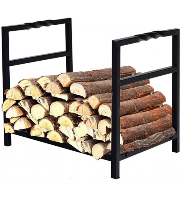 WMMING Industrial Rustic Firewood Log Rack, Indoor Outdoor Stove Hearth Wrought Iron Wood Basket Stand with Non-Slip Handles, 40×35×36cm Solid and Practical