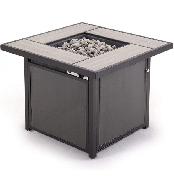 Grand patio Outdoor 32 Inch Propane Gas Fire Pit Table, Square Firetable with Textilene Base & Ceramic Tile, Textilene/Square