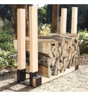 2Pack Firewood Log Storage Rack Bracket Kit Outdoor and Indoor Firewood Log Storage Holder DIY Heavy Duty Meal Fire Pit Accessory Adjustable to Any Length