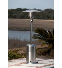 Fire Sense Stainless Steel Pro Series Patio Heater with Wheels | Uses 20 Pound Propane Tank | 46,000 BTU Output | Weighted Base | Portable Outdoor Heat Lamp