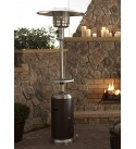 Hiland HLDS01-SSHGT 48,000 BTU Propane Patio Heater with Wheels and Table, Large, Hammered Bronze/SS
