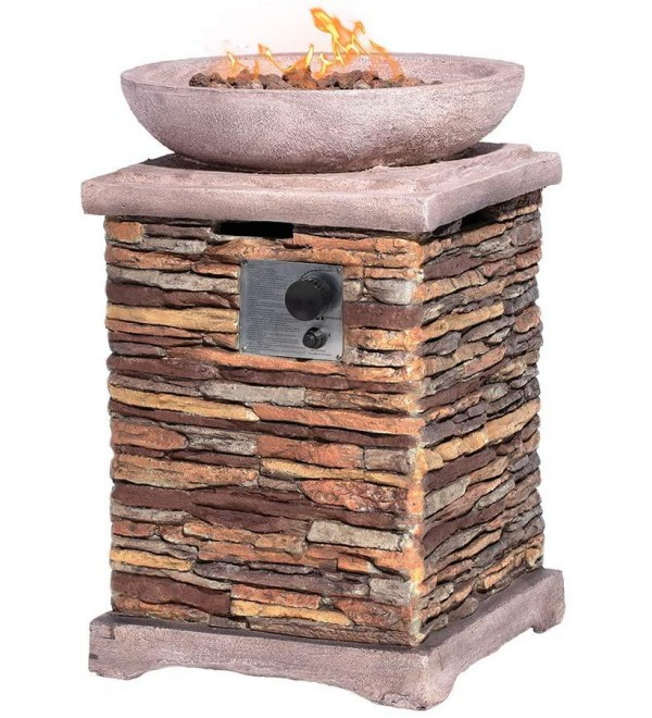 HOMPUS Propane Patio Fire Pit Table, Lava Rocks and Rain Cover for Outdoor Leisure Party,40,000 BTU 20-inch Square Concrete Fire Table