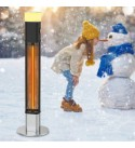 1500W Electric Standing Patio Heater, Infrared Outdoor Heater With Remote Control, 16-Color Led Light & Multiple Protection, Super Quiet and Quality Assurance