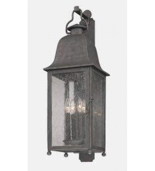 Troy Lighting B3213 Larchmont - Four Light Outdoor Wall Lantren, Aged Pewter Finish with Clear Seeded Glass