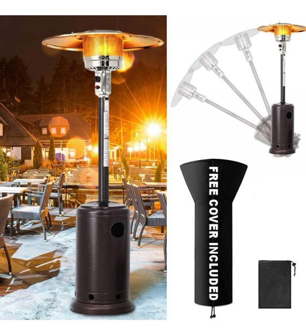 Propane Patio Heaters Outdoor Heaters for Patio Propane, 48000 BTU Propane Heaters Outdoor with Wheel and Cover Outdoor Space Heater for Garden, Wedding, Party(1 pc)