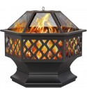 OCDAY Outdoor Fire Pit - 28 Inch Large Hex-Shaped Wood Burning Patio & Backyard Firepit for Outside, Spark Screen, and Fireplace Poker