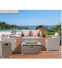 SUNBURY Outdoor 5-Piece Patio Furniture w Propane Fire Pit, Pearl Gray Rattan Conversation Set, 4 Red Pillows w 32-inch Rectangle Wicker 40,000 BTU Fire Table w Glass Guard, Tank Table for Backyard