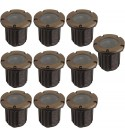 LFU - 10 Pack of Vancouver Brass Constructed Well Lights. Low Voltage. Antique Bronze Finished. 10LF3001AB.
