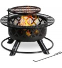 BALI OUTDOORS Wood Burning Fire Pit, 32 Inch Outdoor Backyard Patio Fire Pit with 18.7 Inch Cooking Grill Grate, Black