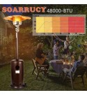 48000BTU Patio Outdoor Heater with Cover - Commercial Portable Stainless Steel Floor Tall Standing with Wheels for Party