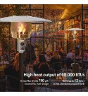 EPROSMIN Outdoor Patio Heater - 48000 BTU Household and Commercial Propane Gas Patio Heater with Wheels and Rain Cloth