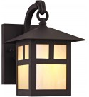 Livex Lighting 2130-07 Montclair Mission 1 Light Outdoor Bronze Finish Solid Brass Wall Lantern with Iridescent Tiffany Glass