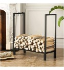 WMMING Large Meidum Firewood Log Rack for Outdoor/Patio/Deck/Yard, Tall 75cm Heavy Duty Iron Metal Kindling Logs Storage Stand with 3 Hooks, Black Solid and Practical
