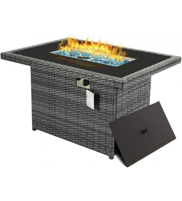 44.1'' Outdoor Patio Propane Fire Pit Table Gray PE Wicker Firepits 55,000 BTU Auto-Ignition Doube Pipes 8mm Tempered Glass Tabletop & Blue Stone,CSA Certification (Gray-44.1'' without Wind Glass)