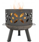 Sunnydaze Retro Fire Pit Bowl Pot- Outdoor Wood Burning Cast Iron Patio and Backyard Fireplace with Handles and Spark Screen - 26-Inch