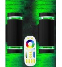 Milight RF Remote Control RGB Color Changing Lighting LED Double Up and Down Outdoor Wall Light 12W 1200lm,White Temperature 2700k- 6500k RGB+CCT 9 Modes Exterior Wall Lighting-ETL Listed (2 Pack)
