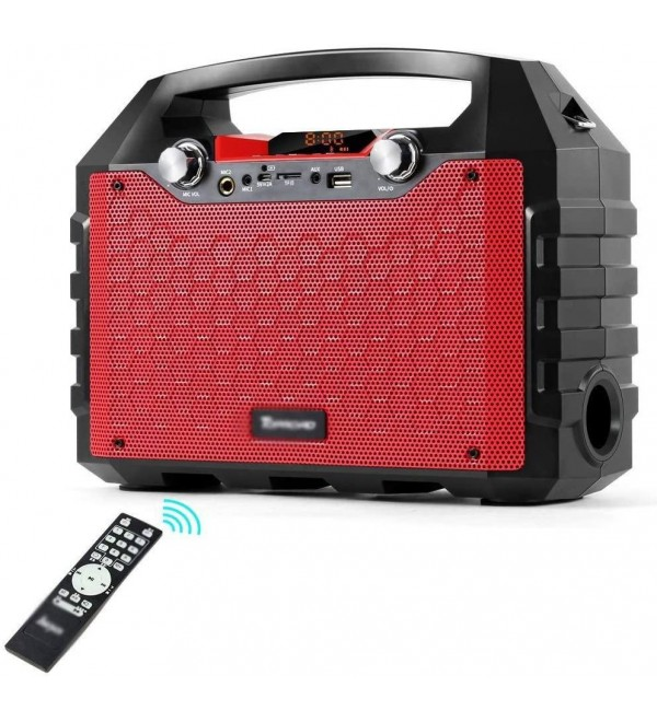 WSMLA 40 Watt Outdoor Indoor Wireless Bluetooth Portable PA Speaker Subwoofer Sound System with USB SD Card Reader Rechargeable Battery Wired Microphone FM Radio Remote