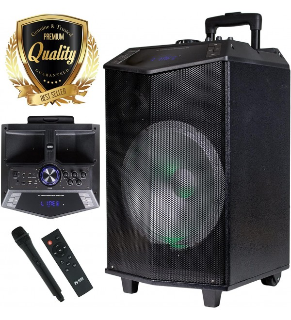 1200W 12 inches Power Party Bluetooth/USB/SD Stereo Rechargeable Portable Speaker - PKL104PK1 - Perfect for Beach/Home/Birthday/DJ Party/Camp/Jobsite/Construction/Industrial