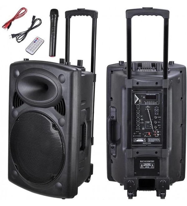 15in Portable Active PA Speaker w/Wireless Microphone